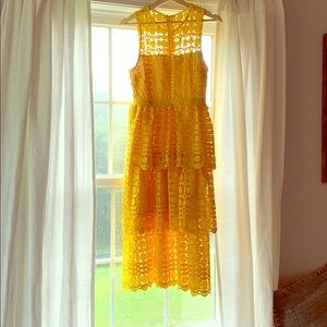 Larissa Yellow Crochet Lace Sleeveless Midi Dress